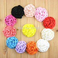 "Wholesale Satin Rose Large - 25Color 2.95"" Large Headdress Flower Brooches Accessories Rose Buds Satin Fabric Flowers For Hair Accessory 50Pcs lot"