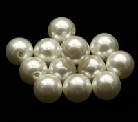 Wholesale 14mm Plastic Pearls - 14mm-16mm DIY cream white round AAA+ big or small hole High gloss ABS Acrylic imitate pearl half hole loose beads 500pcs lot
