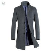 Wholesale Winter Wool Coat Buckles - Shanghai Story mens long trench coat wool coat fashion buckle woolen coat business mens winter 5 color