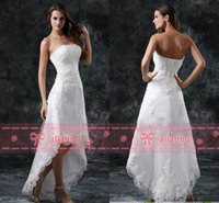 Wholesale strapless lace wedding dresses vintage - Hot Sale New Cheap Full Lace Hi-lo Wedding Dresses Strapless Appliques Hi-lo Backless White Wedding Bridal Gowns CPS110