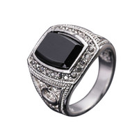 Wholesale Men Ring Design Stone - FG Size 8-11 fashion men jewelry moon & star design 18k white gold plated male ring finger black stone
