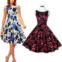 Wholesale New Summer Floral Printed s s Dresses Audrey Hepburn Style Plus Size Vintage Sleeveless Big Swing Rockabilly s Dress