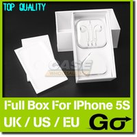 Wholesale Iphone Box Eu Accessories - 10pcs lot US UK EU Version Packing Box For iPhone 5S 16GB 32GB 64GB with Full Accessories Silver Gray and Gold
