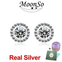 Wholesale Real Diamond Earrings For Women - MOONSO Two Gift Real Sterling Silver 925 CZ Diamond Zircon Stud Earrings Earings Brincos for women Wedding Engagement jewelry ZE232S