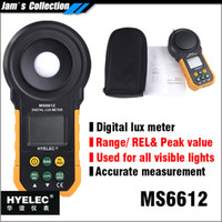 Wholesale digital lux light meter - Wholesale-MASTECH HYELEC MS6612 digital lux meter 20000 lux with range, peak value, relative visible light photometer