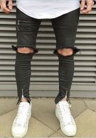 New Fashion Retail Uomo Slim Fit Biker Jeans Pantaloni Distressed Skinny Strappato Jeans Denim Distrutto Lavato Pantaloni Hiphop Nero