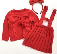 Wholesale Cotton Baby Knitwear - 2017 New Fashion New Year Style Baby Girls Two-piece Set Suspender Dress Suit Red Knit Balls Skirt and Knitwear Pure Cotton