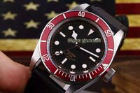 Wholesale Bay Auto - New Luxury Classic Brand 79220R BLACK BAY Automatic Mechanical 42mm Mens Watch Stainless Steel Strap Red Bezel Gents Watch Cheap AAA+