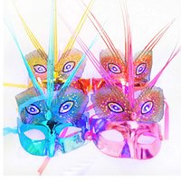 Wholesale sexy peacock masks for sale - Group buy Venetian Masquerade Glitter Peacock Sexy Lighting Flashing LED Eye Party Mask Women Girls Holloween Carnival Festive Supplie Decor