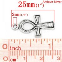 """Wholesale Wholesale Ankh Charms - Charm Pendants Egypt Ankh Antique Silver Dot Carved 25mm x 14mm(1""""x 4 8""""),50PCs (K03436) silver truck silver plated lobster clasp"""
