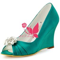 Wholesale Cheap Yellow Wedge Heels - Brand New Cheap Shoes Teal Satin Wedges Bridal Beaded Shoes Peep Toe Wedding & Party Shoes WS0109 Customise Size 33 to 43