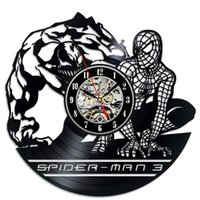 Super Heroes e Spider-Man Vinyl Clock CDs Papéis de parede Cartoon Theme Handmade Furnishings Clocks