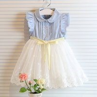 Wholesale Kids Bow Jeans - fly sleeve girl summer denim dress for kids jeans tutu dresse cute lace dress with bow dress baby girl vest lace dress children tutu dresses