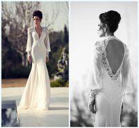 Wholesale Sheer Back Aline Wedding Dress - Muslim Long Sleeves Wedding Dress Bridal Gowns Vneck Aline Applique Open Back Lace And Chiffon Long Bridal Dress Vestido De Novia Gown WWL