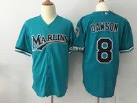 Wholesale Dry Goods - 2015 Newest Wholesale Men's Florida Marlins #8 Dawson blue Throwback Baseball Jerseys, Good Quality, Free Shipping