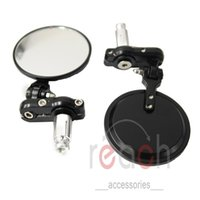 Wholesale Rearview Mirrors - Pair Motorcycle CNC Aluminum Rearview Mirror Handle bar End Black Side Mirror