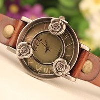 Wholesale Geneva Watches For Women Prices - Wholesale-2015 New Arrival Fashion Antique Bracelet Watch Three Alloy Roses Genuine Leather Woman Watches For Geneva Watch Wholesale Price