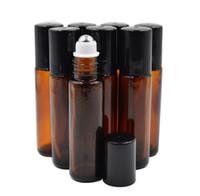 ingrosso roller vuote per oli-Wholesale- 10ml (1 / 3oz vetro spessa AMBER Rotolo su bottiglia di olio essenziale vuoto aromaterapia bottiglia di profumo + metallo Roller Ball da DHL libera nave