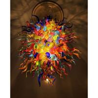 plafones de colores al por mayor-Multi Color hecho a mano soplado de Murano lámpara de cristal de lujo de techo de color LED luces decorativas E14 arte moderno de cristal de la lámpara de iluminación