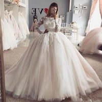 Wholesale organza dress designs resale online - New Design Princess Ball Gown Wedding Dresses Vintage Sheer Long Sleeves Appliqued Puffy Tulle Arabic Bridal Wedding Gowns