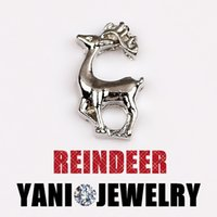 Wholesale Glass Reindeer - 20pcs lot Free shipping Christmas Charms Silver Reindeer Charms for Glass Locket Christmas Charms