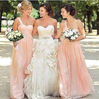 Wholesale Cheap White Chiffon Fabric - Coral 2016 Long Bridesmaid Dresses Cheap Ruffle Formal Prom Dresses Column Empire Body One Shoulder Zip Back Floor Length Chiffon Fabric