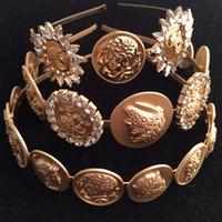 Wholesale Gold Coin Hair Jewelry - 2017 luxury brand women runway Headwear coins diamond headbands luxury accessories for women Hair Jewelry