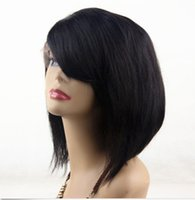 Wholesale Hand Cut Swiss Lace - 7A Natural Hairline Peruvian Hair Short Cut Glueless Full Lace Wig& Front Lace Wig Natural Color Bob Lace Wig Free Shipping