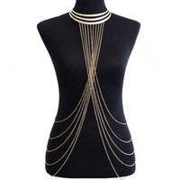 Wholesale belly chains united states resale online - Europe and the United States foreign trade jewelry gold metal collar collar exaggerated personality tassel body chain