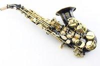 Wholesale Brass Sax - Selmer R54 Soprano Saxophone Carved Flower Black Nickel Gold Simulation B tone Sax saxophone Gold Key Brass instrument