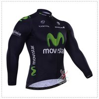 Wholesale Movistar Long Sleeve - Wholesale-WINTER FLEECE THERMAL 2015 MOVISTAR PRO TEAM BLUE Ropa Ciclismo ONLY Long Sleeve Cycling Jersey Bike Bicycle Wear Size XS-4XL