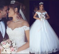 Wholesale fancy champagne - Arabic Said Mhamad 2018 New Off Shoulder Wedding Dresses Fancy A Line Appliques Floor Length Church Bridal Gowns