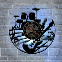 Wholesale Led Clock Diy - Musical Instruments Best Handmade Gifts Fashion accessories Wall Art Sticker Modern Black Vinyl Record Wall DIY Clock Led Backlight Clock