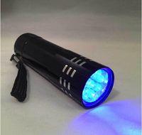 ingrosso piccoli torce ricaricabili-9 LED mini torcia 9 LED UV Light 395-400nm Torcia a LED a LED piccola torcia / torcia non ricaricabile