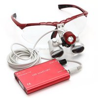 Wholesale Dental Surgical Binocular Loupes - Brand New Dental Surgical Medical Binocular Loupes 3.5X 420mm Optical Glass Loupe+LED Head Light Lamp Red Free shipping