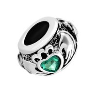 metal dostluk bilezikleri toptan satış-Metal Kaymak Spacer yeşil birthstone İrlandalı Claddagh Dostluk ve Aşk Kalp Avrupa Boncuk Fit Pandora Chamilia Biagi Charm Bilezik