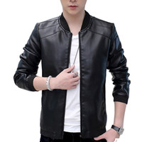 Wholesale Thin Leather Motorcycle Jacket - Winter Men's Retro Vintage Casual Classic PU Faux Leather Slim Thin Jacket Fit Biker Motorcycle Jacket Coat Outwear Black Tops L-4XL
