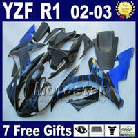 yamaha r1 gövde kitleri toptan satış-YAMAHA R1 2002 2003 için mavi alevler kaportalar Enjeksiyon kalıplı vücut kitleri YZF1000 02 03 yzf r1 kaporta kiti parçaları 4RW1 set