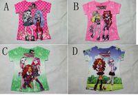 Wholesale Tshirt Kids New - 2014 New summer Fashion hot Tshirt Monster high Clothing cartoon Tshirts Tops Kids Clothes Child Short T shirts C001