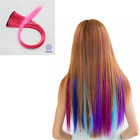 Wholesale Long Hairpieces For Women - 1PC Long Solid Pink Ombre Colorful Hairpiece Accessories Heat Resistant Colored 2Clips In Synthetic Hair Extension For Women