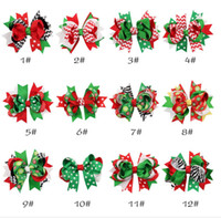 Wholesale Baby Girls Hair Clip - Christmas Baby Girls Hair Clips Ribbon Bow Hairpins X-mas Gift Zebra Striped Dots Snow Flowers Print Hair Accessory Children 12Designs-J612