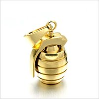 Wholesale Grenade Pendant Steel - HIPhop Gold Color Stainless Steel Sports Hand Grenades Bombs Pendant Necklaces for Men woman Jewelry