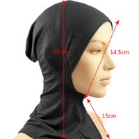 Wholesale Islamic Muslim Wear - Under Scarf Hat Cap Bone Bonnet Hijab Islamic Head Wear Neck Cover Muslim