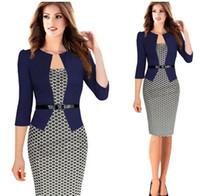 desen elbiseleri tasarlar toptan satış-Yeni Ekose Tasarım Fasle Iki Adet Ile Kemer Kadınlar Çalışma Elbise artı Boyutu Diz Boyu Uzun Kollu Ofis Bayanlar Elbiseler 2XL kadar
