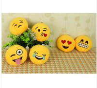 UK led ring smiley - Wholesale-New Fashion Soft Emoji Smiley Emoticon Key Ring Yellow Round Cushion Stuffed Plush Toy Doll Key Chain