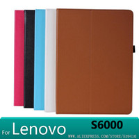 Wholesale Lenovo Ideatab 3g - Wholesale-2015 new Leather Cover Case for Lenovo S6000 10.1 3G S6000 wifi Tablet PC case for lenovo ideatab S6000 case +screen protectors