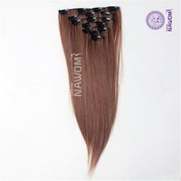 Wholesale Brazilian Hair Packages - NAWOMI Heat Resistant 7Pcs Package 22Inch 55CM Synthetic Hair Piece Straight Brown Girls Clips In Fiber Extension For Full Head