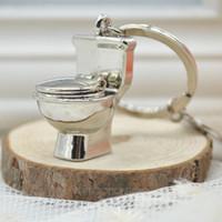 Wholesale Bathroom Keychains - 2014 Toilet Key Ring Mini Chain Classic 3D Keychain Bathroom Cute Creative Gift trinket FMHM146#M1