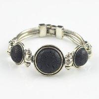 Wholesale Wholesale Craft Cuff Bracelets - Wholesale-B245A Round Lava Rock Volcano Stone Cuff Bracelet 1PC Vintage Look Retro Craft Antique Silver Plated Jewelry Women Gift