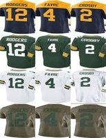 Wholesale Football Brett Favre - Packer #12 Aaron Rodgers #2 Mason Crosby #4 Brett Favre Men Women Youth Custom Elite Football Jersey Olive Salute to Service Wear